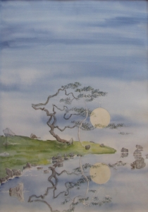 watercolor Japanese garden