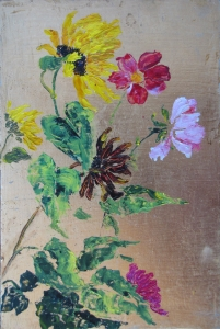 Oil Flower Painting on Gold Leaf