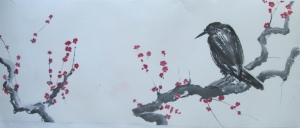 Asian Ink Painting of Crow