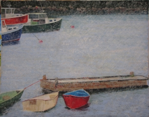 Pastel fishing boats in winter